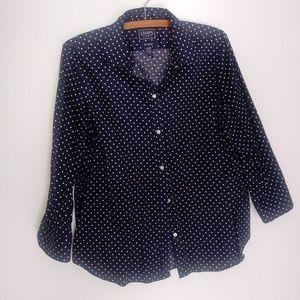 Chaps poka dotted button down long sleeve shirt